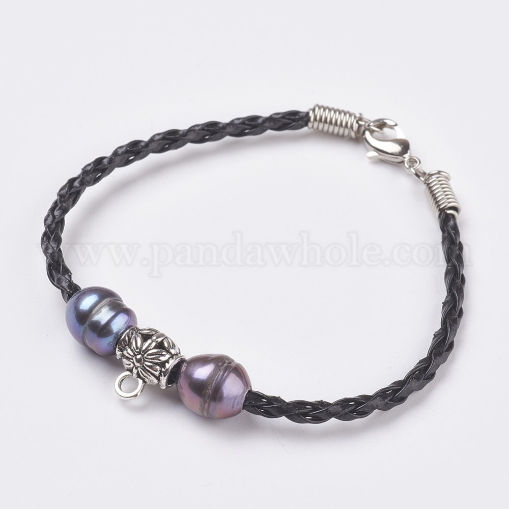 Pu Leather Cord Bracelet Making With Tibetan Silver Hanger Links And Pearl Beads Br Lobster Claw Clasps