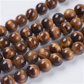 Gemstone Strands, Tiger Eye, Round, Grade A, 12mm, Hole: 1mm