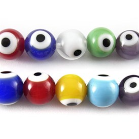 Handmade Italianate Lampwork Beads Strands, Evil Eye, Round