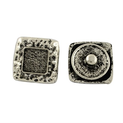 Brass Snap Buttons, with Square Alloy Cabochon Settings, Tibetan Style, Lead Free, Tray: 10x10mm; 21x21x9mm-1
