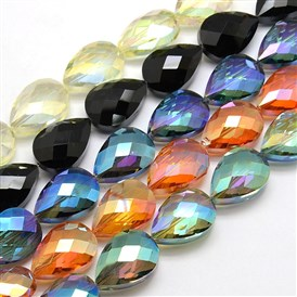 Electroplate Crystal Glass Drop Beads Strands, Faceted, Color Plated, 24x17x11mm, Hole: 1mm; about 30pcs/strand, 28.3""
