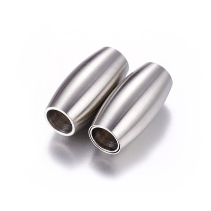 304 Stainless Steel Magnetic Clasps, Matte Style, Oval, 21x10mm, Hole: 6mm