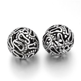 Hollow Round Tibetan Style Alloy Filigree Beads, 26x25mm, Hole: 3mm