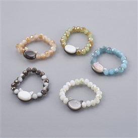 Electroplate Glass Strech Rings, with Shell, Cat Head