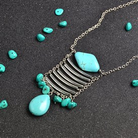 DIY Necklace Kits, Silver Tube and Turquoise Beads Pendant Chain Necklace