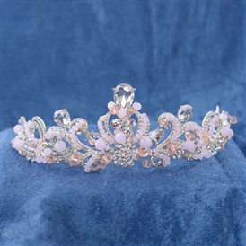 Fashionable Wedding Crown, Alloy Hair Bands, Bridal Tiaras, with Rhinestone & Glass