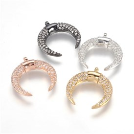 Brass Micro Pave Cubic Zirconia Pendants, Crescent Moon/Double Horn