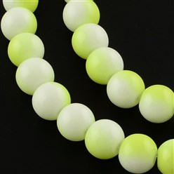 GreenYellow Two-Color Baking Painted Glass Bead Strands, Round, GreenYellow, 8mm; Hole: 1.3~1.6mm; about 104pcs/strand, 32.7""