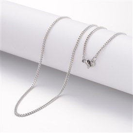 304 Stainless Steel Necklaces, Curb Chains, with Lobster Clasps