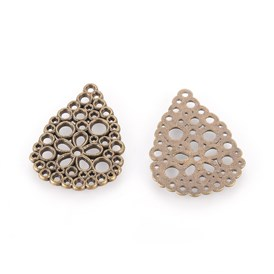 Alloy Bead Rhinestone Settings, Drop, Antique Bronze, about 27mm long, 20mm wide, 1mm thick, hole: 1.5mm