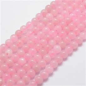 Natural Rose Quartz Bead Strands, Round