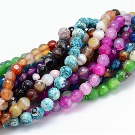 "Dyed Natural Agate Faceted Round Beads Strands, 6mm, Hole: 1mm; 14.5"", about 63pcs/strand, 14.5"""
