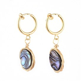 Natural Abalone Shell/Paua Shell Clip-on Hoop Earrings, with 316 Stainless Steel Clip-on Earrings Findings, Oval