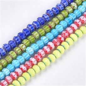 Glass Beads Strands, Faceted, Rondelle with Flower