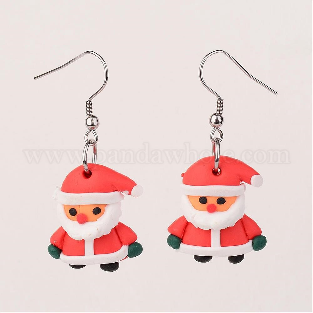 Polymer Clay Christmas Earrings.Father Christmas Earrings Handmade Polymer Clay Dangle Earrings With 304 Stainless Steel Earrings Hooks