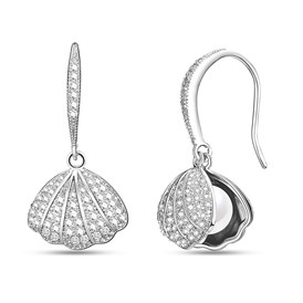 SHEGRACE&reg Brass Dangle Earrings, with Shell Pearl and Cubic Zirconia, Shell Shape