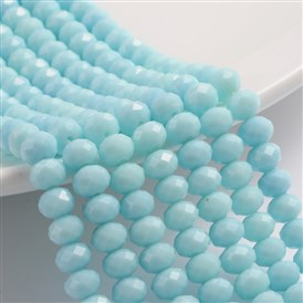Imitation Jade Glass Rondelle Beads Strands, Faceted, 8x6mm, Hole: 1.2mm; about 68pcs/strand, 15.3""