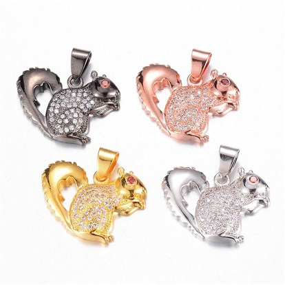 Brass Micro Pave Cubic Zirconia Pendants, Squirrel-1