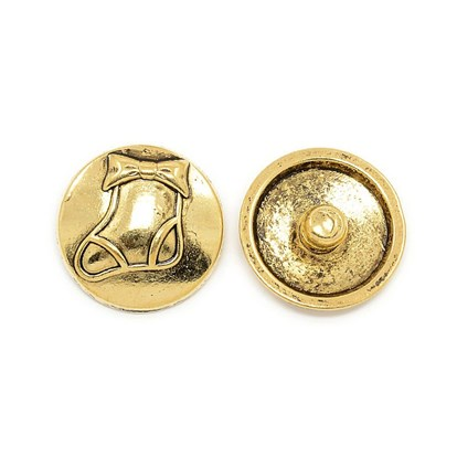 Alloy Button for Enamel, Flat Round with Boot Pattern, for Christmas, Cadmium Free & Nickel Free & Lead Free, 19.5x7mm, Knob: 5.5mm-1