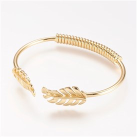 Brass Cuff Bangle, Real Gold Plated, Leaf