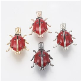 Alloy Enamel Diffuser Locket Pendants, Cage Pendants, Ladybug, Red