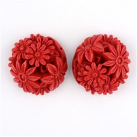 Cinnabar Links, Flower, 31x32x15~19mm, Hole: 2mm