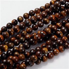 Gemstone Beads Strands, Grade B Tiger Eye, Round, 8mm, Hole: 1mm; about 46pcs/strand, 15.5""