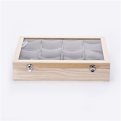 Wooden Bracelet Presentation Boxes, with Glass and Velvet Pillow, Rectangle-1