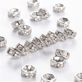 Disc 316 Stainless Steel Spacer Beads, with Rhinestone, 6x3mm, Hole: 1mm