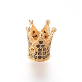 Brass Micro Pave Cubic Zirconia Bead, Crown