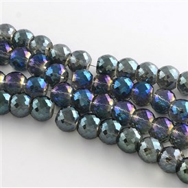 Electroplate Transparent Glass Round Bead Strands, Half Rainbow Plated, Faceted