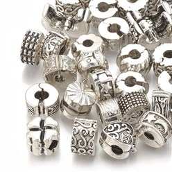 Antique Silver Alloy European Clasps, Large Hole Beads, Mixed Shapes, Antique Silver, 9~10x6~9mm, Hole: 3~3.5mm