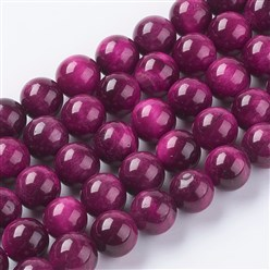 MediumVioletRed Natural Tiger Eye Beads Strands, Dyed & Heated, Round, MediumVioletRed, 6mm, Hole: 1mm; about 62pcs/strand, 15.75""