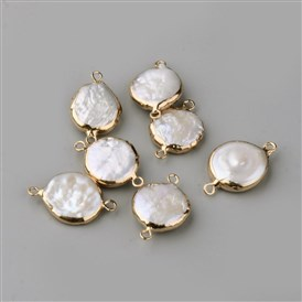 Plated Natural Pearl Links, with Iron Findings, Flat Round, Golden