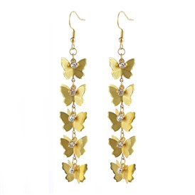 Dangle Earrings, with Brass Pendants, Crystal Rhinestone and 316 Stainless Steel Earring Hooks, Butterfly with Flat Round