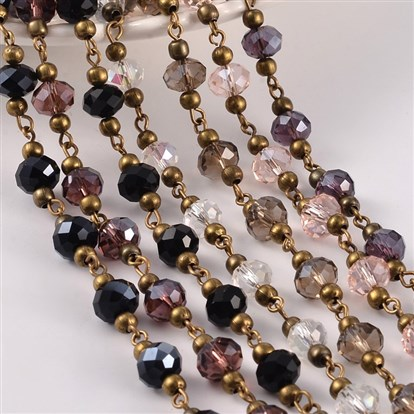 "Handmade Glass Beaded Chains for Necklaces Bracelets Making, with Brass Beads and Brass Eyepins, 39.3""; 1m/strand-1"