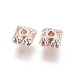 Rose Gold Alloy Beads, Square, Rose Gold, 11.5x11.5x4.4mm, Hole: 1.6mm