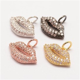 Brass Micro Pave Grade AAA Cubic Zirconia Charms, Long-Lasting Plated, Lip, Cadmium Free & Nickel Free & Lead Free