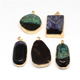 Plated Natural Druzy Agate Pendants, with Light Gold Plated Brass Findings ,35~45x21~26x9~12mm, Hole: 6x5mm