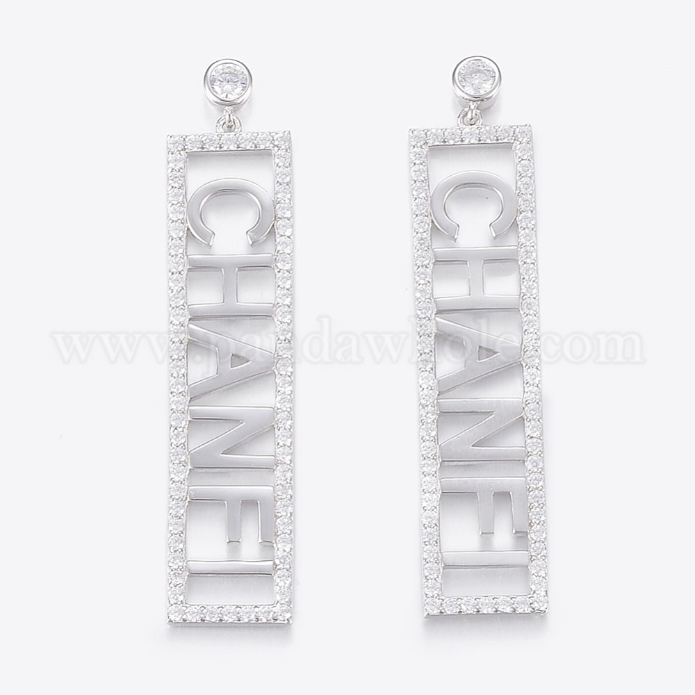 28f4c92c6 925 Sterling Silver Micro Pave Cubic Zirconia Stud Earrings, with Ear Nuts,  Rectangle with Word CHANFI (00SHG1)