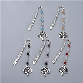 Alloy Bookmarks, with Glass Beads, Tree