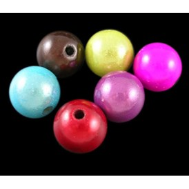 Spray Painted Acrylic Beads, Miracle Beads, Bead in Bead, Round, 16mm, Hole: 2mm