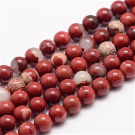 Natural Red Jasper Bead Strands, Round