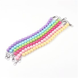 Plastic Beads Chain Belts, with Platinum Tone Iron Clasps