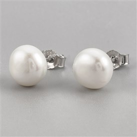Pearl Ball Stud Earrings, with Sterling Silver Pin, Carved 925