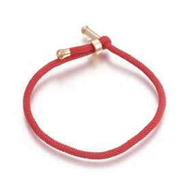Cotton Cord Bracelets, with Brass Finding, Long-Lasting Plated