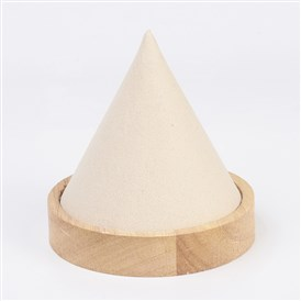 Wood Necklace Displays, with Faux Suede, Cone Shaped Display Stands