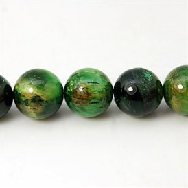 Natural Green Tiger Eye Beads Strands, Dyed & Heated, Round