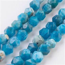 Natural Apatite Beads Strands, Round, Faceted