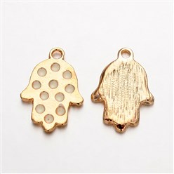 White Light Gold Plated Alloy Enamel Hamsa Hand/Hand of Fatima/Hand of Miriam Pendants for Buddha Jewelry, White, 23x16x2mm, Hole: 2mm